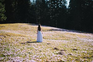 Girl in a dress in a flower field