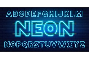 80 s blue neon retro font. Futuristic chrome letters. Bright Alphabet on dark background. Light Symbols Sign for night show in club. concept of galaxy space. Set of types. Outlined version.