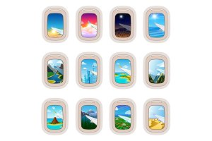 Aairplane window vector traveling by plane and porthole view in flight illustration tourism set of windowpane in aircraft transport and aeroplane isolated on white background