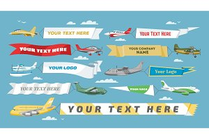 Plane banner vector airplane or aircraft with blank message advertisement and text template ad in illustration set of aeroplane or airliner advertising in sky isolated on background