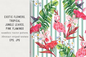 Tropical flowers,leaves,flamingo