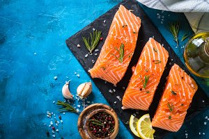 Fresh fish. Salmon fillet.