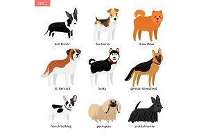 Cartoon dogs icons set