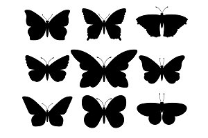 Butterflies black silhouettes