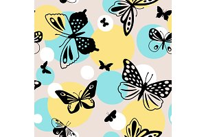 Color butterflies seamless pattern