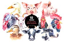Watercolor Farm Animal Vector Set