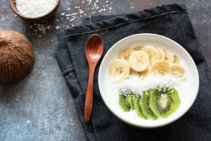 Bowl of yogurt with fresh fruits