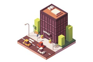 Vector isometric office building