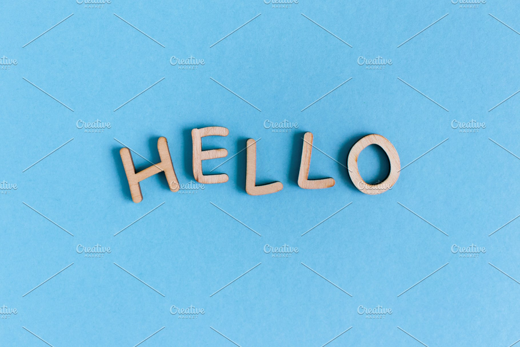 Word Hello Made Of Wooden Letters