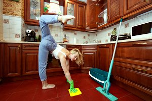 Gymnastics during washing floors.