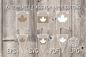 Templates of flags for paper cut.
