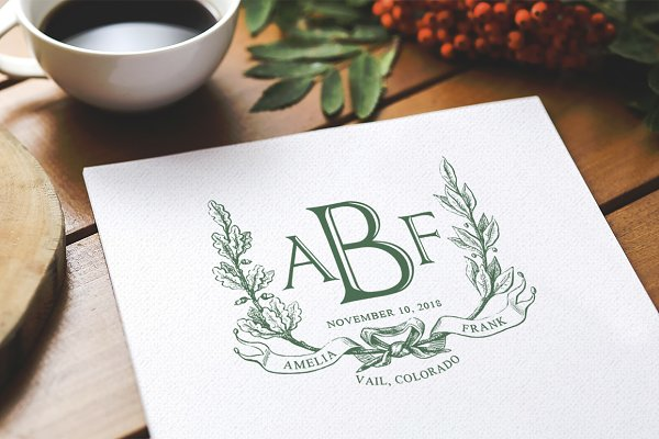 Noble Wreath Wedding Monogram