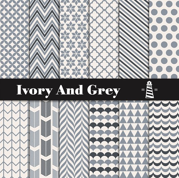 Ivory And Grey Digital Paper