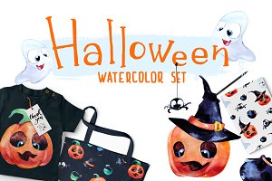 Halloween. Watercolor set