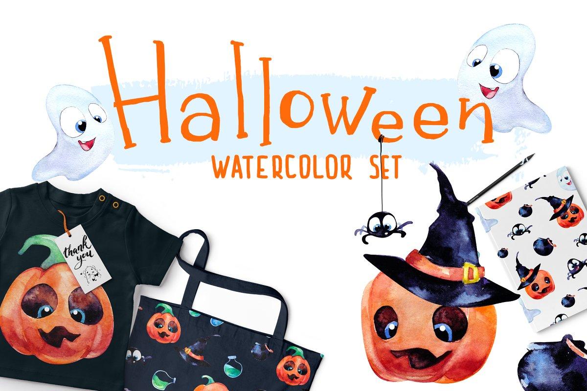 Halloween. Watercolor set