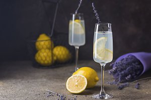 Lemonade with lemons and lavender