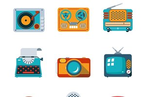 Retro media icons in flat style