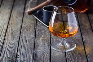 Glass of cognac or brandy