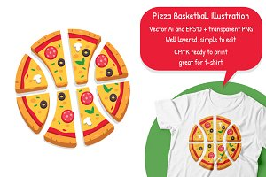 Pizza Basketball Illustration