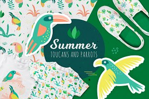 Summer toucans and parrots