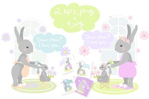 Bunny and mommy vector clip art