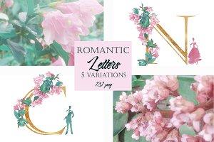 Romantic Alphabet Letters Floral PNG