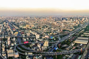 bangkok aerial view with sunset light