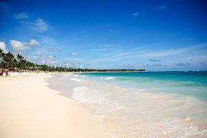 Sunny tropical beach in the Caribbean