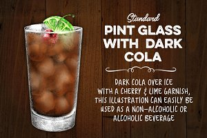 Dark Cola Beverage with Cherry Lime