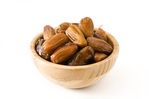 Dates in wooden bowl