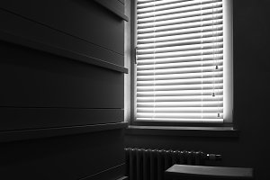 Black and white window blinds interior background