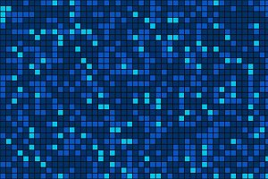 Blue mosaic tile seamless pattern background in technology concept. 3d illustration.