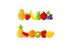 Fresh healthy fruits in flat style