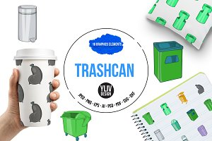 Trashcan icons set, cartoon style