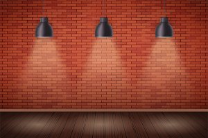 Brick wall room with vintage lamps