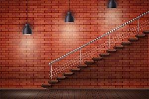 Red brick wall loft interior