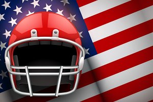 American Football Helmet and US Flag