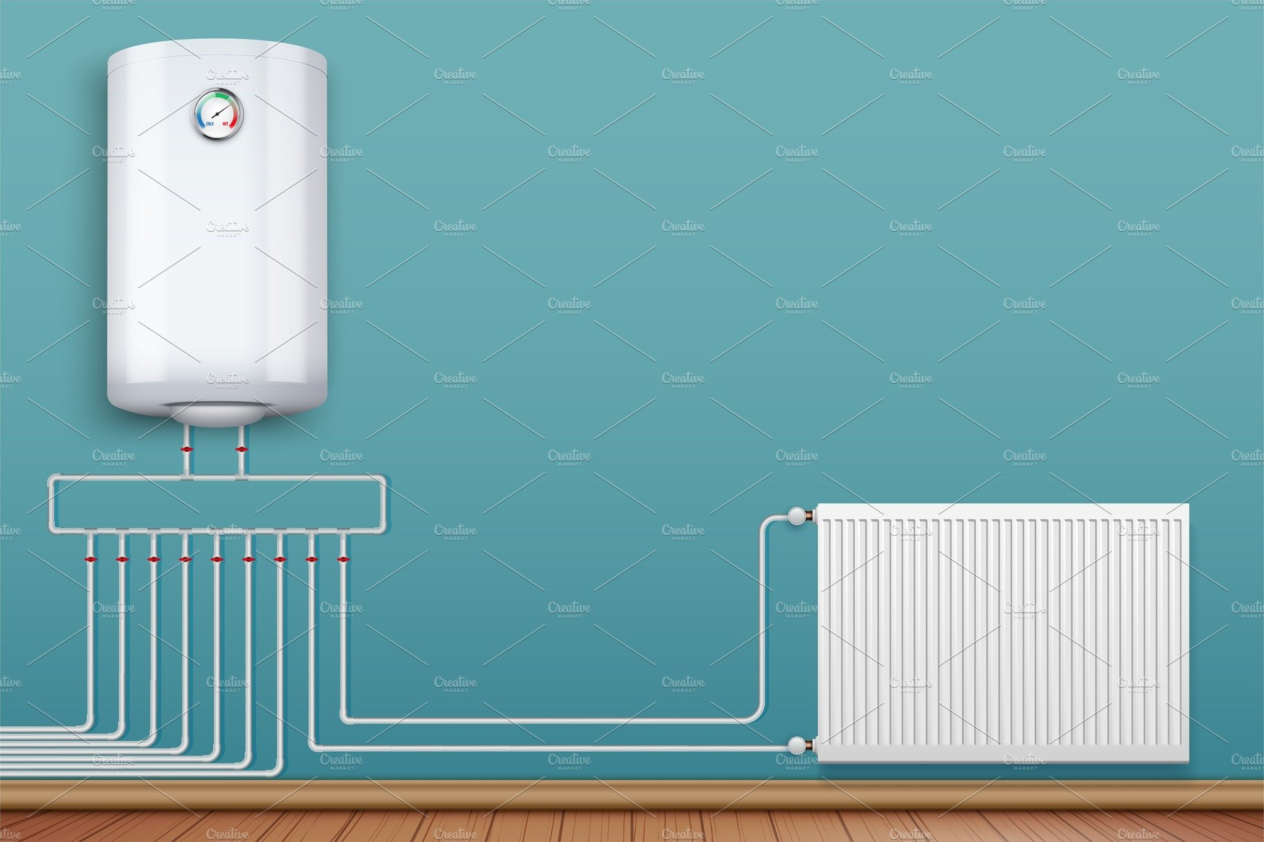 Heating radiator and boiler in room ~ Illustrations ~ Creative Market