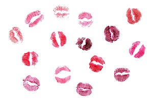 набор отпечатков губ помады