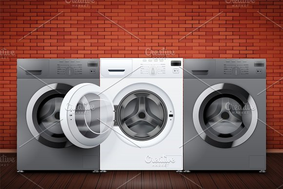 Laundry room of brick wall and washing machines