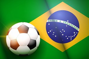 Football ball and Brazil Flag