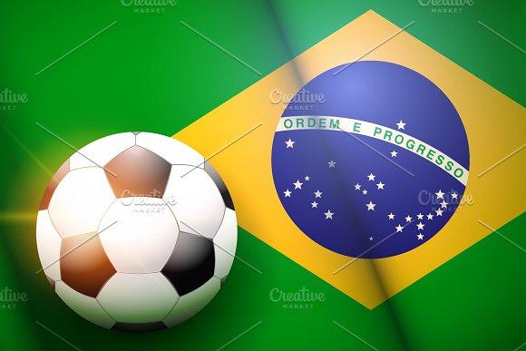 Football ball and Brazil Flag