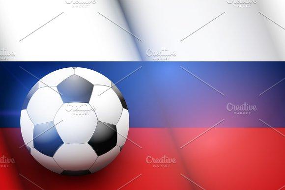 Football ball and Russia Flag