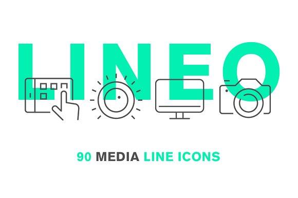 LINEO - 90 MEDIA LINE ICONS