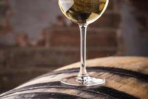 White wine on a barrel