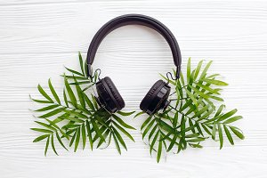 headphones with green palm leaves