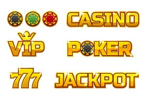 Vector set golden logo JACKPOT, POKER, 777, CASINO and VIP. Gold play chips