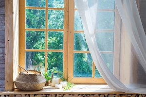 Empty room, wooden window with with curtain and window