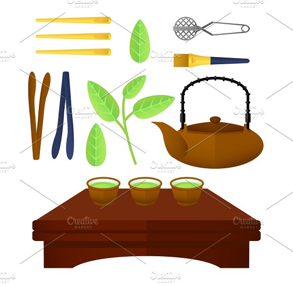 Flat Chinese Tea Elements Set