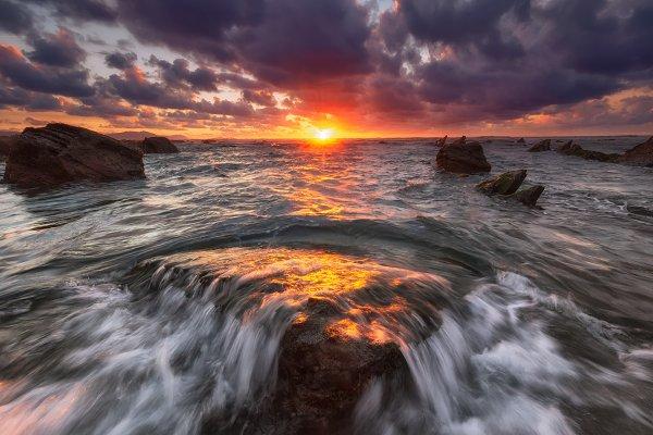 Nature Stock Photos: PhotoNature - Sunset at Barrika beach